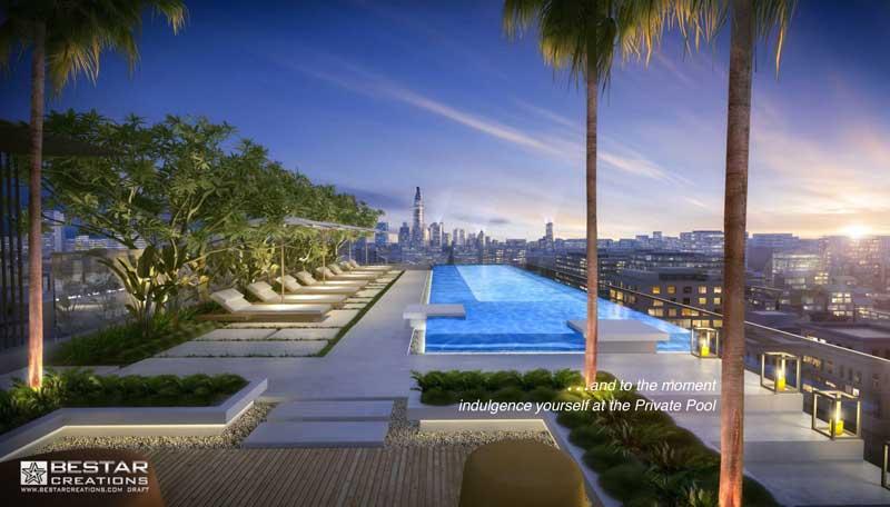 Hồ bơi tầng thượng dự án Serenity sky villas